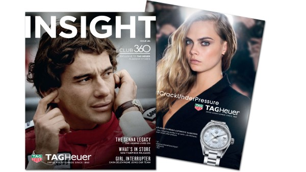 The cover of issue 6 of TAG Heuer Insight magazine featuring Ayrton Senna